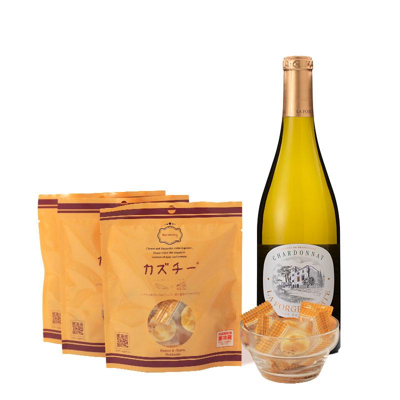 カズチー3袋+白ワイン(ラ フォルジュ エステイト シャルドネ 750ml)セット
