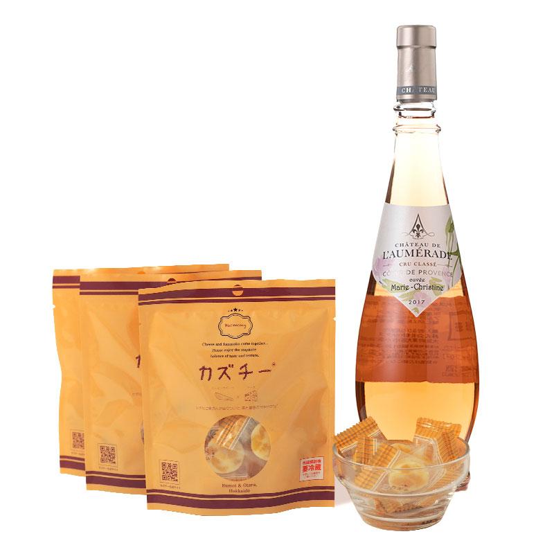 カズチー3袋+ロゼワイン(キュヴェ マリー クリスティーヌ プロヴァンス 750ml)セット