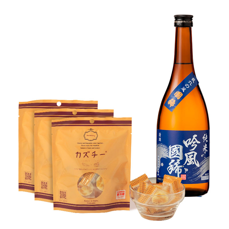 カズチー3袋+日本酒(純米 吟風国稀720ml)セット