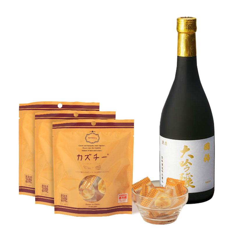 カズチー3袋+日本酒(国稀 大吟醸720ml)セット