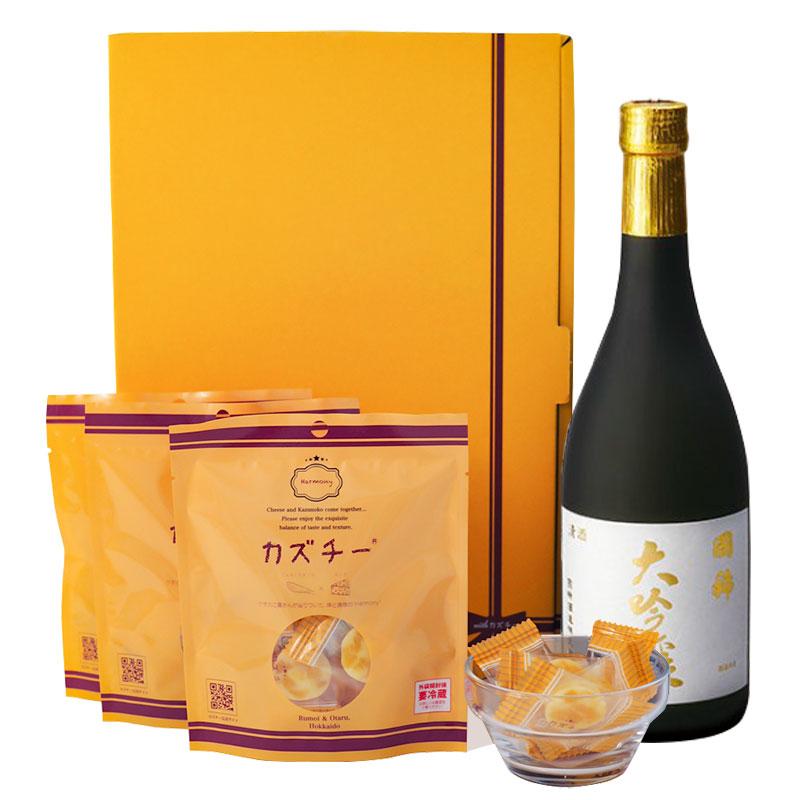プレミアムギフト「カズチー3袋+日本酒(国稀 大吟醸720ml)」セット